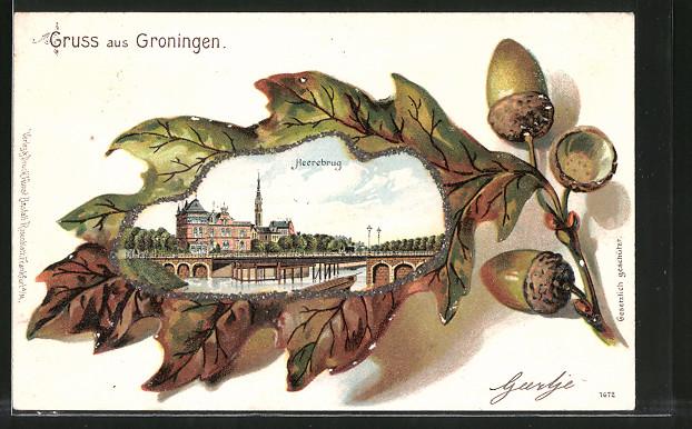 Passepartout-Lithographie Groningen, Blick zur Heeresburg im Eichenblatt