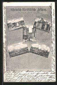 Zeitungs-AK Essen, Rheinisch-Westfälische Zeitung, Krupp'sche Gussstahlfabrik, Stadttheater, Totalansicht