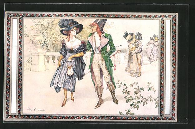 Künstler-AK sign. Carl Fischer-Koystrand: Aus der guten, alten Zeit, Paar aus dem 19. Jahrhundert