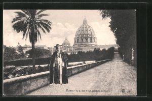AK Roma, Pio X nel giardino Vaticano, Papst Pius X. im Garten des Vatikan