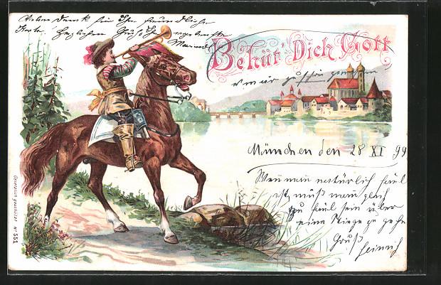 Lithographie Behüt Dich Gott!, Trompeter von Säckingen zu Pferd