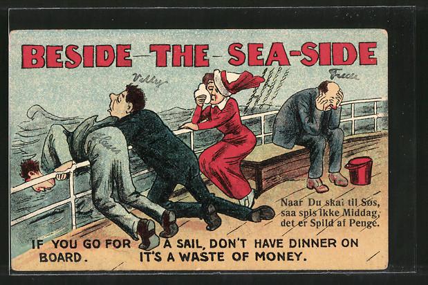 AK Beside the Sea-Side, Seekranke auf Schiff