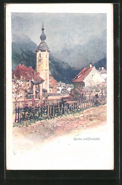 Künstler-AK Franz Kopallik: Kirche von Pontafel