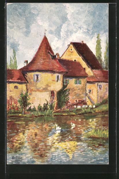 Künstler-AK Degi Nr. 1413, An der Stadtmauer