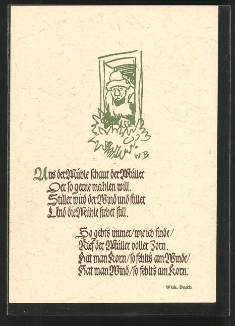 k nstler ak wilhelm busch gedicht zu guter letzt nr 7155714 oldthing k nstlerkarten. Black Bedroom Furniture Sets. Home Design Ideas