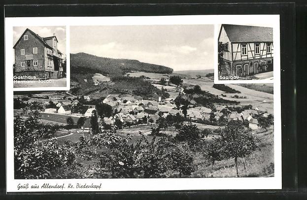 AK Allendorf, Gasthaus v. Hermann Jacobi, Totalansicht, Saalbau