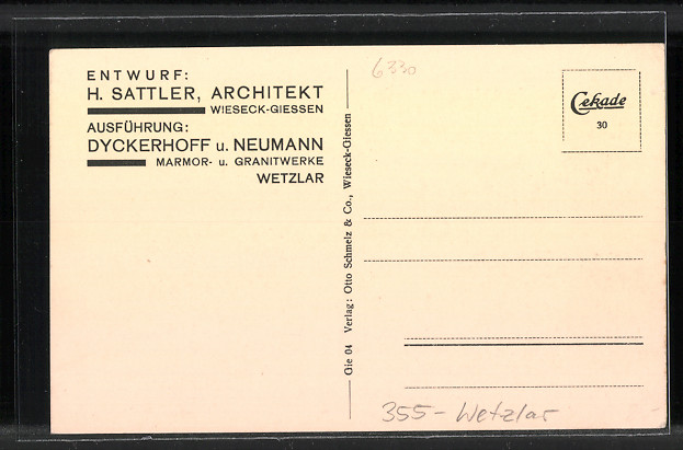 Künstler-AK Wetzlar, Kriegerehrenmal Hermannstein 1