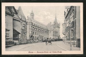AK Worms, Eleonoren-Schule mit Hutten-Strasse