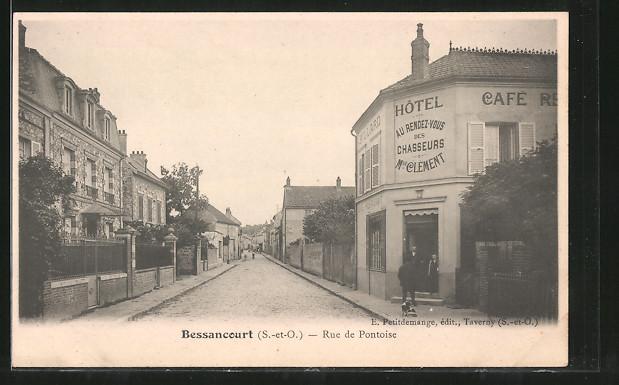 AK Bessancourt, Rue de Pontoise, Hotel Au Rendez-Vous des Chasseurs