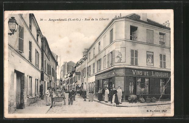 AK Argenteuil, Rue de la Liberté, Strassenpartie im Ortskern