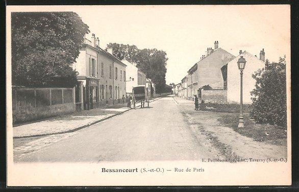 AK Bessancourt, Kutsche auf der Rue de Paris