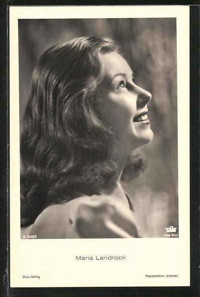AK Schauspielerin Maria Landrock lächelnd im Halbprofil porträtiert