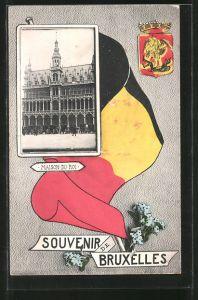 AK Souvenir de Bruxelles, maison du roi, Wappen von Brüssel
