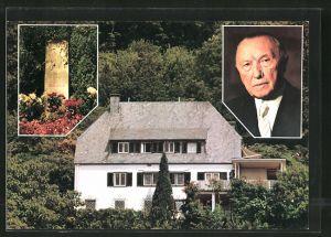 AK Bad Honnef-Rhöndorf, Wohnhaus und Porträt von Konrad Adenauer