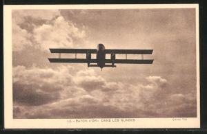 AK Doppeldecker-Flugzeug