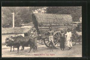 AK Ceylon, Native Bullock Cart, Einheimische vor ihrem Ochsen-Gespann