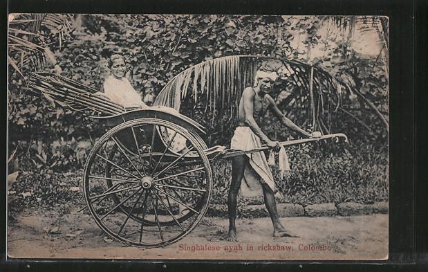 AK Colombo, Singhalese ayah in rickshaw, Rikscha mit Passagier