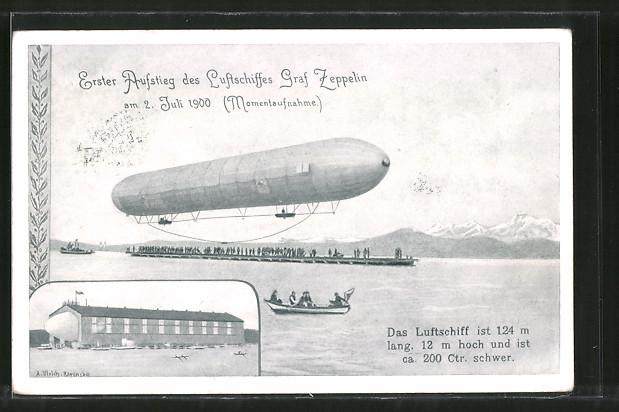 Künstler-AK Erster Aufstieg des Luftschiffes Graf Zeppelin, Hangar