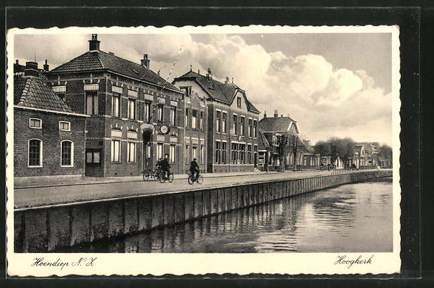 AK Hoendiep, Hoogkerk, Strassenpartie am Kanal