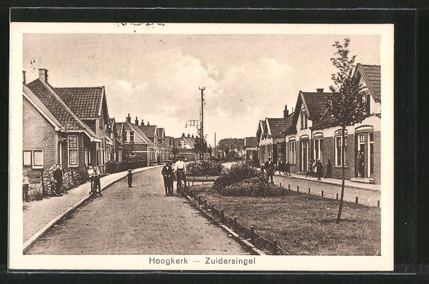 AK Hoogkerk, Zuidersingel, Strassenpartie mit Passanten