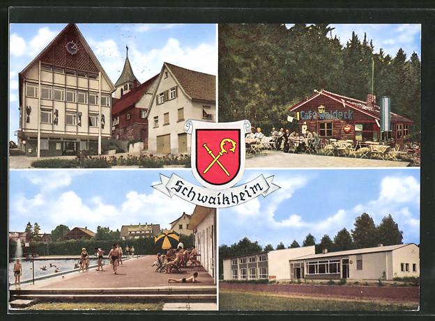 AK Schwaikheim, Rathaus mit Evang. Kirche, Cafe Waldeck, Freibad, Sportheim Wiesenthal