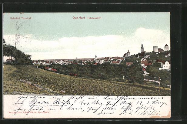 AK Querfurt, Totalansicht, Bahnhof Thaldorf