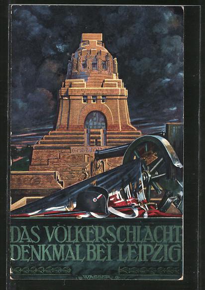 Künstler-AK Leipzig, Völkerschlachtdenkmal, Hut von Napoleon