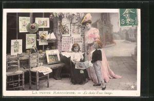 Foto-AK Stebbing: La Petite Marchande, Le choix d'une image, Kleines Liebespaar