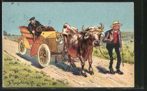 Künstler-AK Ermenegildo Carlo Donadini: Bauer schleppt mit seiner Kuh ein Auto ab