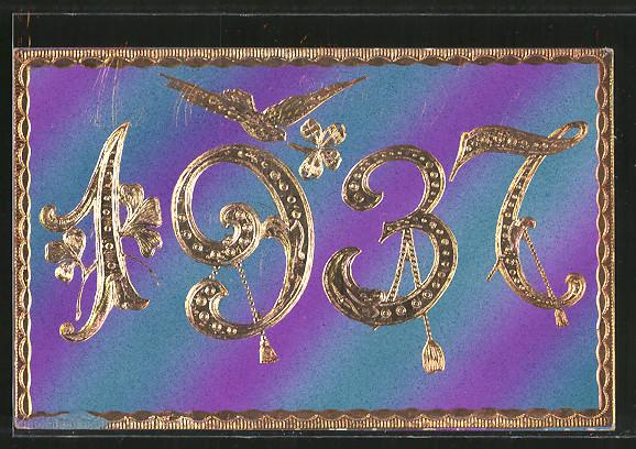 Präge-AK Jahreszahl 1937 und Taube mit Klee im Schnabel