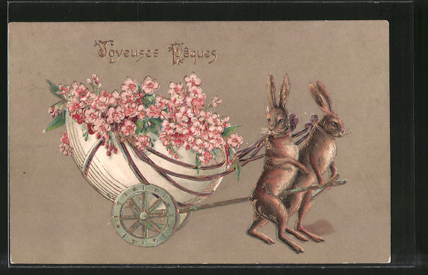 Präge-AK Joyeuses Paques, Osterhasen ziehen eine Kutsche mit Blumen