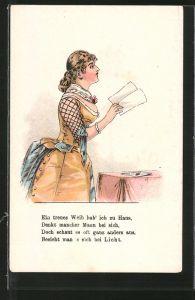 Lithographie Frau hält einen Brief in den Händen, Halt gegen das Licht