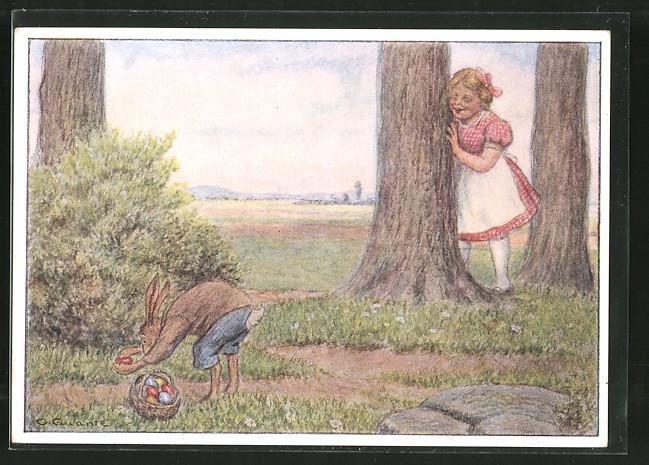 Künstler-AK Mädchen beobachtet den Osterhasen beim Verstecken der Eier