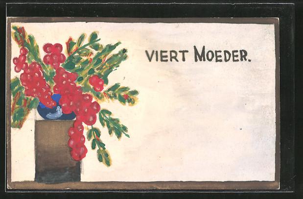 Künstler-AK Handgemalt: Rote Blumen in einer Vase,