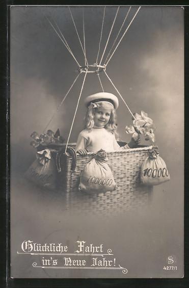 AK Neujahrsgruss, Mädchen in einer Ballongondel mit Geldsäcken