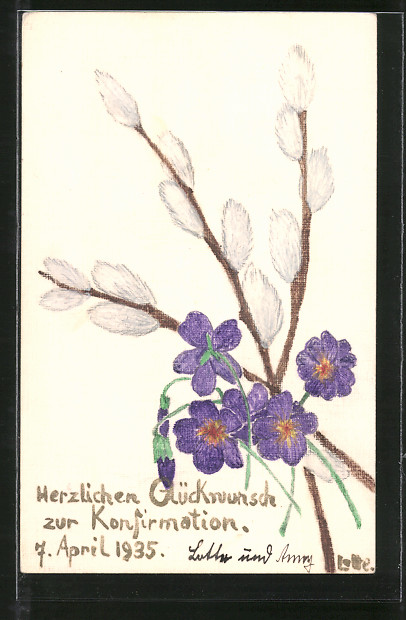 Künstler-AK Handgemalt: Glückwunsch zur Konfirmation, Blumen und Weidenkätzchen