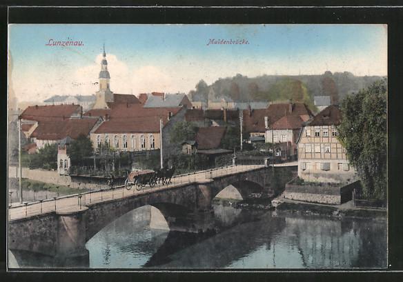 AK Lunzenau, Partie an der Muldenbrücke, Kirche