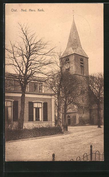 AK Olst, Ned. Herv. Kerk., Strassenpartie mit Kirche