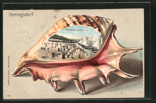 Passepartout-Lithographie Heringsdorf, Strandleben im Familienbad, Muschel