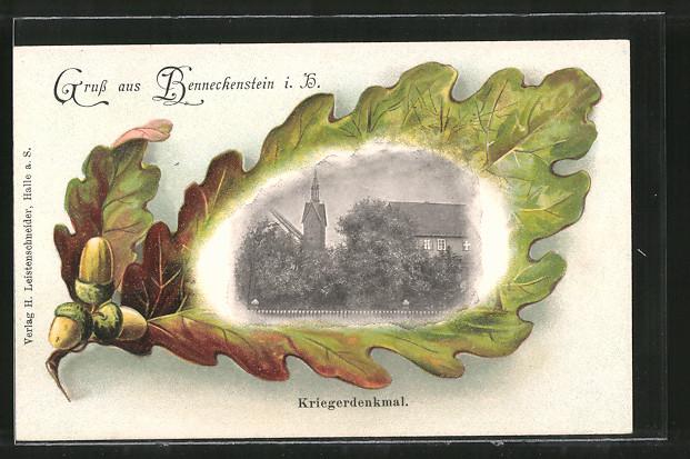 Passepartout-Lithographie Benneckenstein, Kriegerdenkmal im Eichenblatt