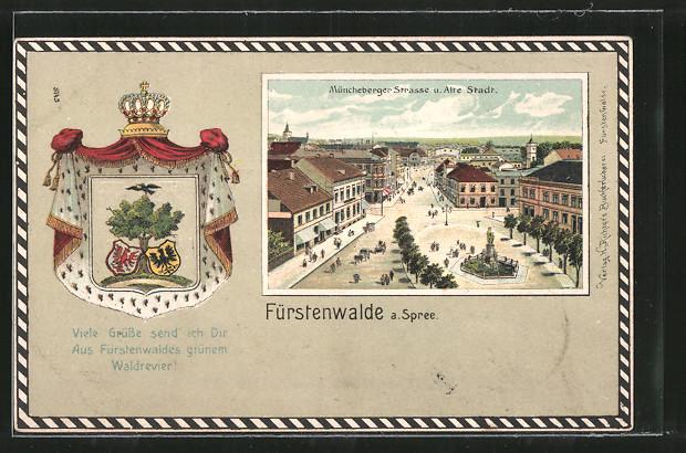 Passepartout-Lithographie Fürstenwalde, Müncheberger Strasse u. Alte Stadt aus der Vogelschau, Wappen