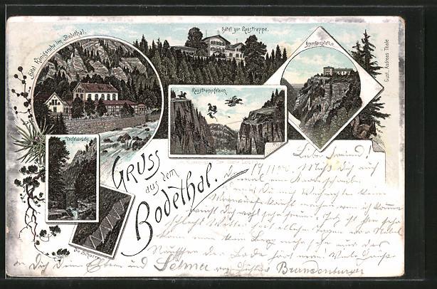 Lithographie Thale, Hotel Zehnpfund, Hotel zur Rosstrappe, Teufelsbrücke
