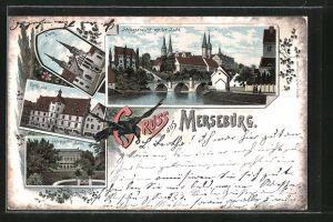 Lithographie Merseburg, Rathaus, Dom, Schlossgarten-Salon, Rabe