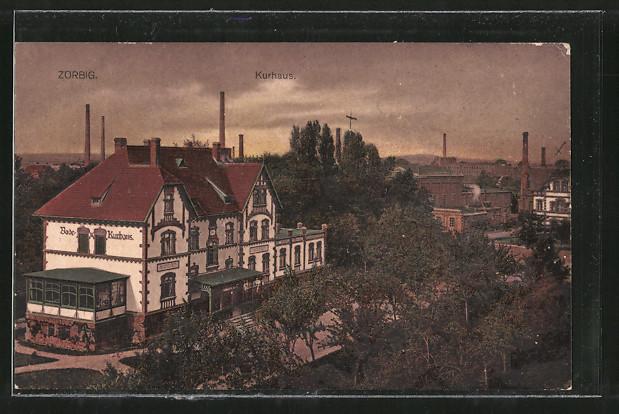 AK Zörbig, Bade-Kurhaus mit Umgebung