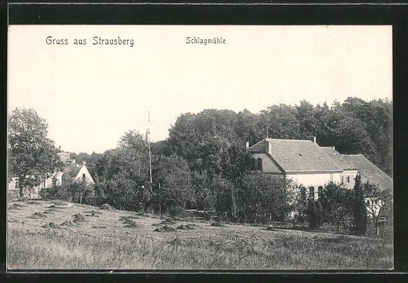 AK Strausberg, Ortsansicht mit Gasthaus Schlagmühle