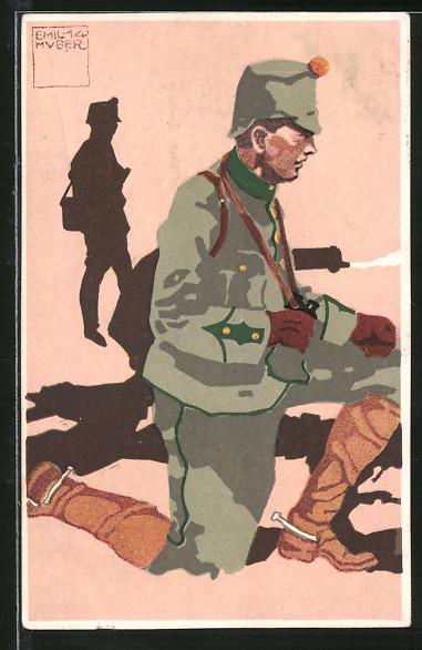 Künstler-AK sign. Huber: Leutnant 2. Infanterie-Mitrailleure in Felduniform