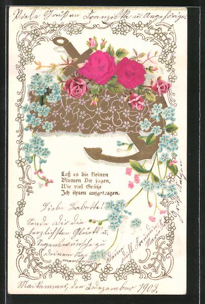Stoff Präge Lithographie Lass Es Die Kleinen Blumen Dir Sagen Anker Und Rosen