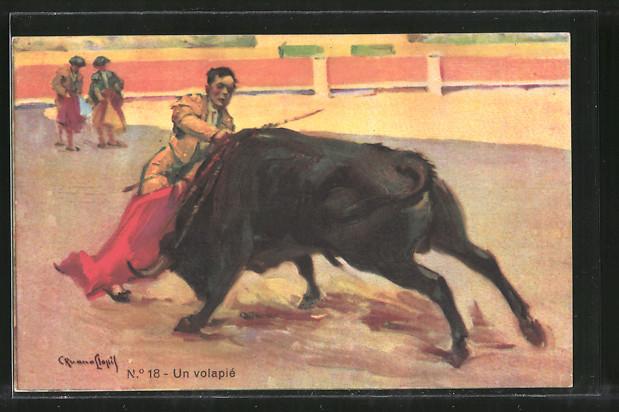 Künstler-AK Stierkampf, Torero im Kampf mit dem Stier