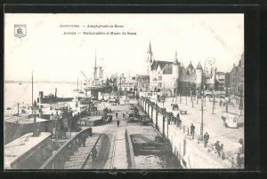 AK Antwerpen / Anvers, Embarcadère et Musée du Steen, Hafen und Museum Steen