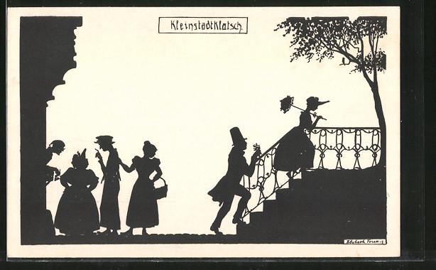 Künstler-AK Elsbeth Forck: Kleinstadtklatsch, Schattenbild